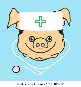 emoticon or emoji of happy smiling fat pig doctor with a medical stethoscope that is wearing a skullcap with green cross sign, well-fed piggy drawing, pork personage with thin outlines