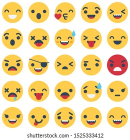 Emoticon and Emoji Isolated Vector icons pack that can be easily modified or Edit in any Color