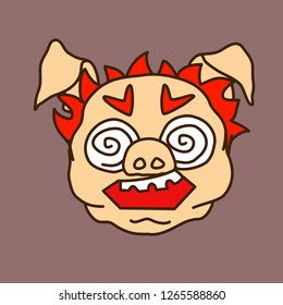 emoticon or emoji of mentally ill fat pig man with scary insane face, crazy eyes & crooked teeth, well-fed piggy drawing, pork personage with thin outlines, funny porky cartoon character