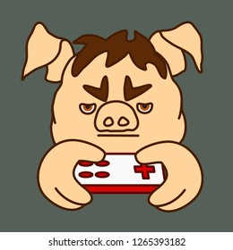 emoticon or emoji of moody player boy or gamer man fat pig that is holding a retro gamepad & playing a video game, well-fed piggy drawing, pork personage with thin outlines, eps 10 vector clip art
