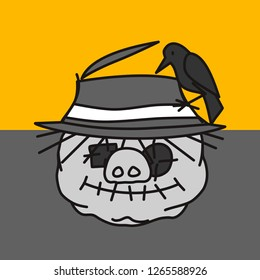 emoticon or emoji of scarecrow fat pig made out of old fabric with eye patches & stitched mouth with crow sitting on its worn straw hat during sunset, well-fed piggy drawing, eps 10 vector clip art