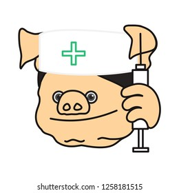 emoticon or emoji of smiling fat pig man nurse that is holding a syringe & wearing a skullcap with cross symbol or sign, well-fed piggy drawing, pork personage with thin outlines