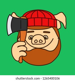 emoticon or emoji of smiling lumberjack, wood chopper or forest logger fat pig with heavy beard that is wearing a knitted hat & holding an ax, axe or hatchet, well-fed piggy drawing
