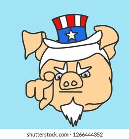 emoticon or emoji of Uncle Sam fat pig pointing finger at you, usa mascot wants you for US army, american government or president personification in striped tophat with stars, well-fed piggy drawing
