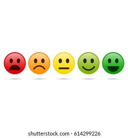 Emoticon evaluation icon, feedback icon, smiley with different mood. Vector.