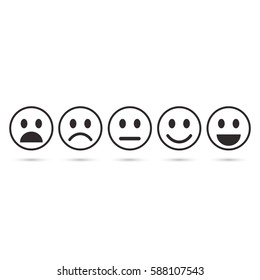 Emoticon evaluation line icon, feedback icon, smiley with different mood. Vector.