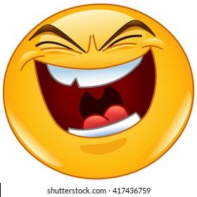 Emoticon with evil laugh