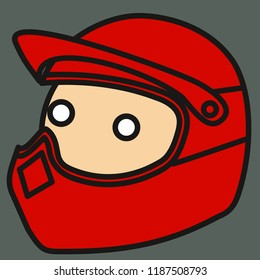 emoticon with extreme motorbike biker, quad bike rider or speed motorcycle racer with safety helmet or helm on his head, circle shaped vector emoji in color, simplistic colorful pictogram