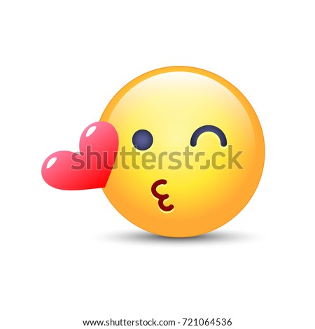 Emoticon Face Throwing Kiss Winking Smiley Stock Vector Royalty