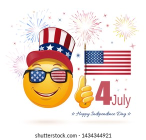 Emoticon face in Uncle Sams hat and the US flag in his hand. 4 July. Emoji celebrates US Independence Day. Vector illustration