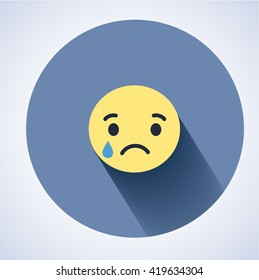 Emoticon. Flat Character Icon. Sad depressive icon. Facebook new icon. Sad icon