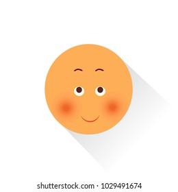 emoticon with flushed face feeling ashamed, shy or upset emoji with blushed cheeks, funny cartoon character with simplistic facial expression, simple hand drawn line icon from a set