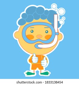 emoticon with frogman swimming under water with bubbles, pearl diver or fisher wearing an underwater mask or glasses and an air snorkel tube, thumbs up simple colored emoji