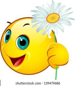 Emoticon giving a camomile