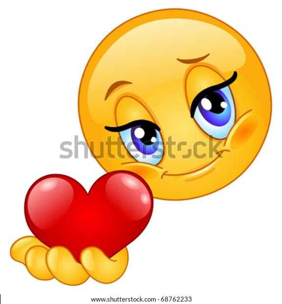 Image Vectorielle De Stock De Emoticone Donnant Du Coeur 68762233