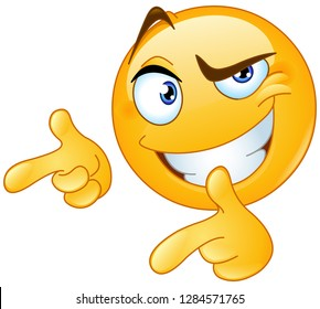 Emoticon giving two thumbs up and pointing with fingers