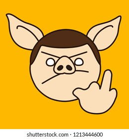 emoticon with grumpy pig guy that shows explicit middle finger gesture, vector emoji drawn by hand in color, simplistic colorful picture, simple handdrawn illustration