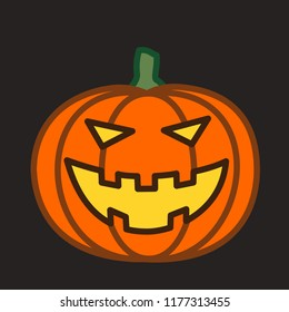 emoticon with hallowed halloween pumpkin with a spooky carved grin and evil eyes, circle shaped vector emoji in color, simplistic colorful pictogram, ball like personage with thick outlines