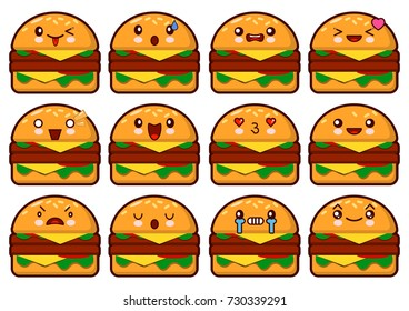 Emoticon Hamburger Kawaii Face On A White Background Different Emotions Collection Vector Illustration