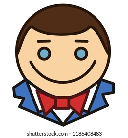emoticon with happy smiling man that is wearing a tux or tuxedo with white collar shirt and a bowtie, circle shaped vector emoji in color, simplistic colorful pictogram