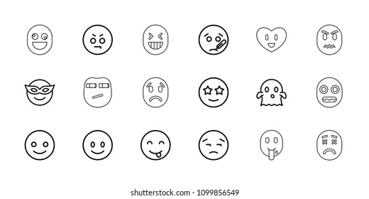 Emoticon icon. collection of 18 emoticon outline icons such as smiling emot, emoji in mask, angry emot, ghost. editable emoticon icons for web and mobile.