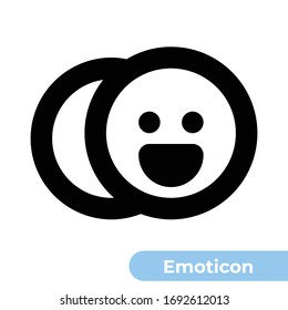 Emoticon Icon. Designed in 24x24px artboard with 2px stroke thickness. Pixel perfect and scalable icon.