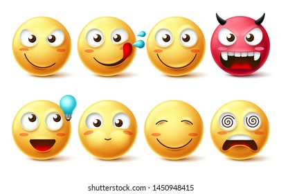 Emoticon icons vector set. Smiling faces emoticon happy, hungry, naughty, thinking, dizzy and evil facial expressions isolated in white background. Vector illustration.