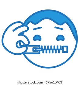 emoticon keeps his mouth shut by closing the zipper with his hand, funny cartoon character with simplistic facial expression, ball or circle shaped simple vector illustration, eps 10