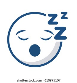 emoticon lazy face icon over white background. vector illustration