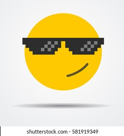 Emoticon like a boss in a flat design