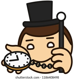 emoticon with London dandy in a high society top hat that is holding watch on a chain & a cane, english gentleman showing what time is it now on his clock, circle shaped vector emoji in color