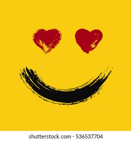 Emoticon in love. Smiling emoji with hearts eyes. Happy face. Painted emotion icon. Grunge brush strokes design. Distressed texture. Vector illustration. For social networks, internet messages