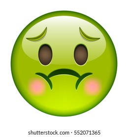 Emoticon with Nausea. Smile icon. Green Emoji. Isolated Illustration on White Background