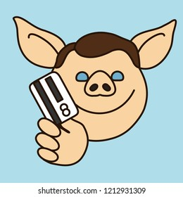 emoticon with a pig man that is going to pay merchant for some service or goods with his credit card, cardholder charging money from ATM or paying with payment card using POS terminal system