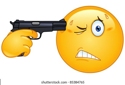 Emoticon pointing a gun on his head
