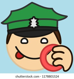 emoticon with police officer or policeman that is wearing a green uniform peaked cap smacking his lips before eating a donut, circle shaped vector emoji in color, simplistic colorful pictogram