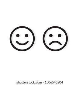 emoticon and sad face icon- vector illustration