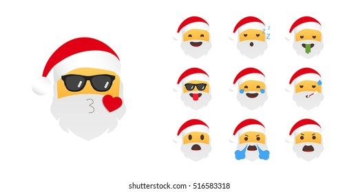 Emoticon Santa Claus. Emoji for Christmas and New Year