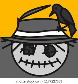 emoticon with scarecrow made out of old fabric with eye patches and stitched mouth with crow sitting on its worn straw hat during sunset, circle shaped vector emoji in color