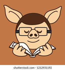 emoticon with school pig boy or a university student that is wearing glasses while studying or reading a book, vector emoji drawn by hand in color, simplistic colorful picture