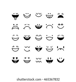 emoticon set black simple
