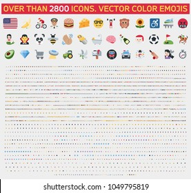 Emoticon set. Vector emoji set. Food, sport,  transport, music, people, animal, objects, flags of the world emoticon emoji icon set
