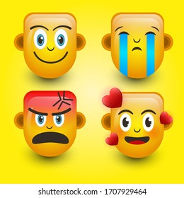 Emoticon. Smile face, Sad face,Angry face, and falling in love. Cute emoticon isolated on yellow background. 3d illustration.