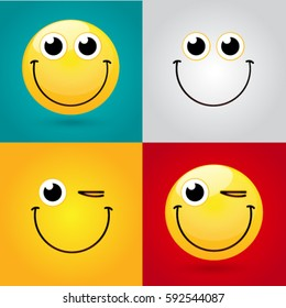 Emoticon or Smiley icon set for web. Happy face emoticon. Smiley face simple set with facial expressions on color background. Vector illustration template.