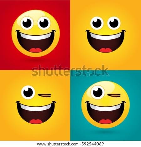 Emoticon Smiley Icon Set Web Happy Stock Vector Royalty Free