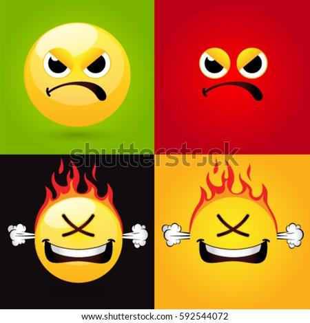 Emoticon Smiley Icon Set Web Angry Stockvector Rechtenvrij