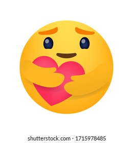 Emoticon smiling face. Love emoji.
