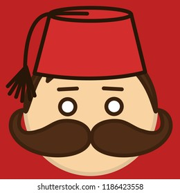 emoticon with stereotypical turkish muslim man with mustache that is wearing traditional ethnic fez or tarboosh with tassel, circle shaped vector emoji in color, simplistic colorful pictogram