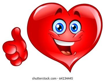 Emoticon thumb up heart