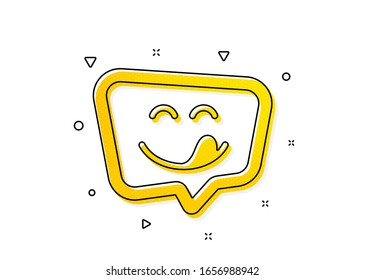 Emoticon with tongue sign. Yummy smile icon. Speech bubble symbol. Yellow circles pattern. Classic yummy smile icon. Geometric elements. Vector